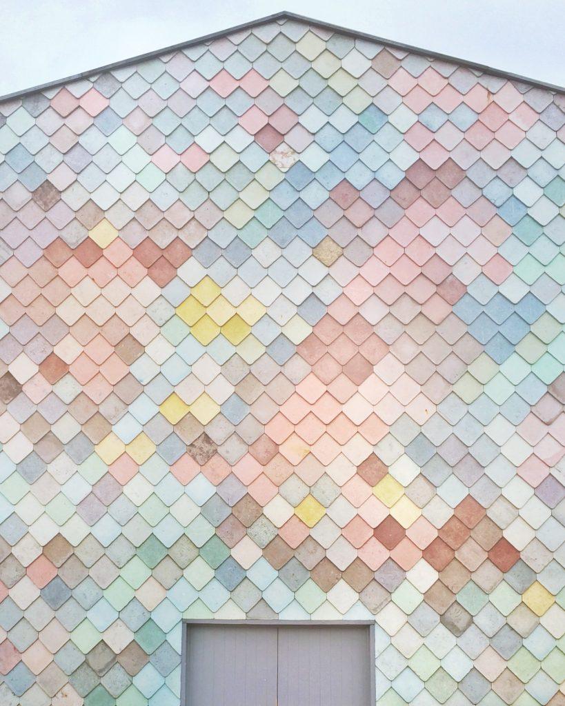 pastel wall paint design on external facade